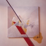 White wit Red Diagonals by Ruth Meghiddo