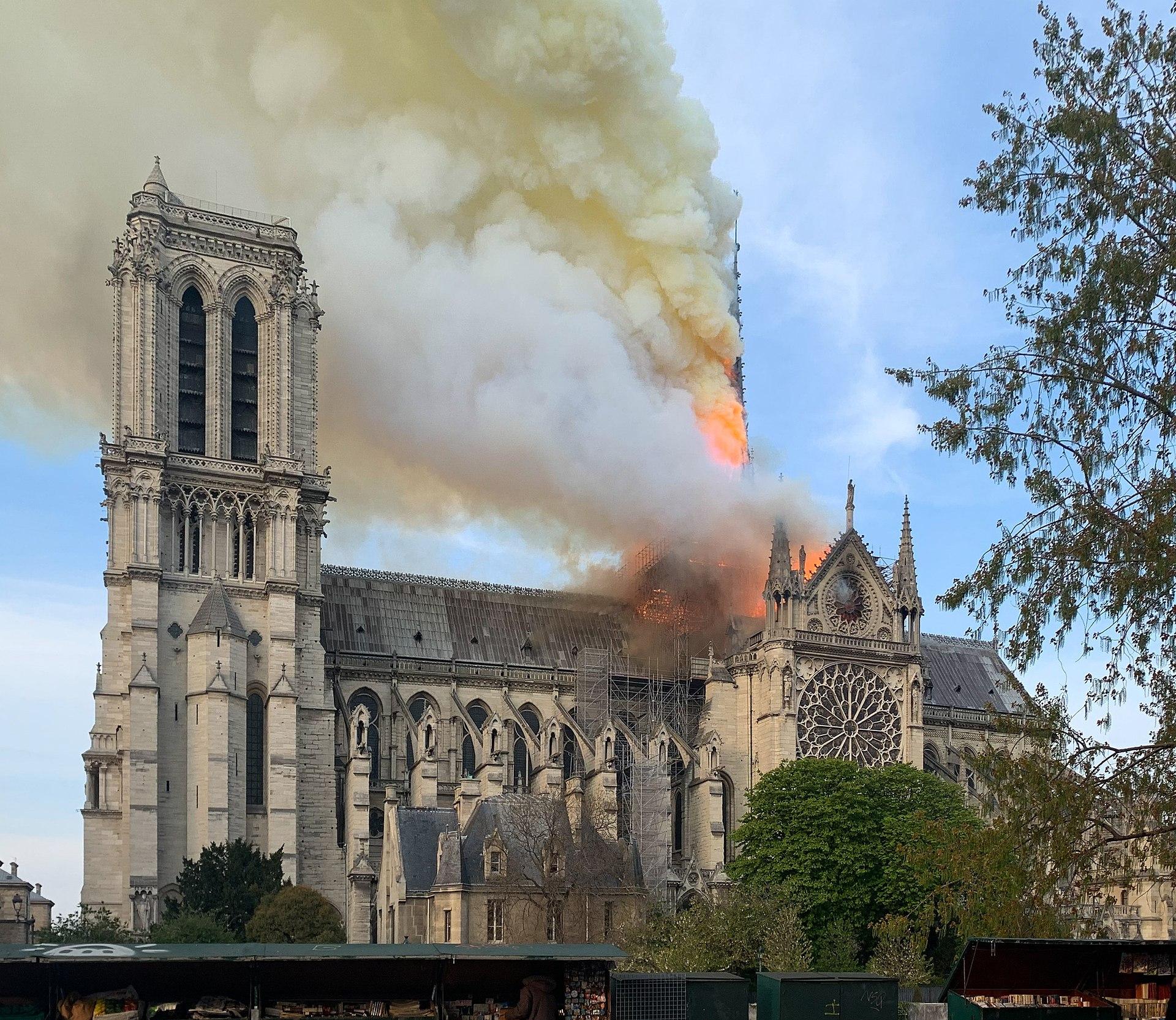 Notre Dam burning. Image: By Wandrille de Préville via Creative Commons License.