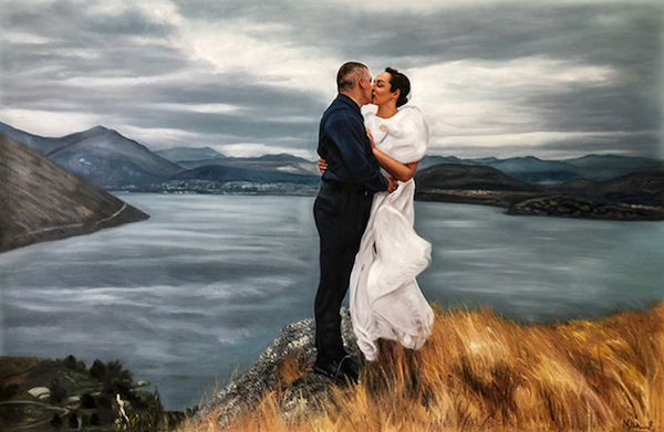 Breathtaking, custom wedding oil portrait painting of a bride and groom embracing on a gorgeous cliffside.