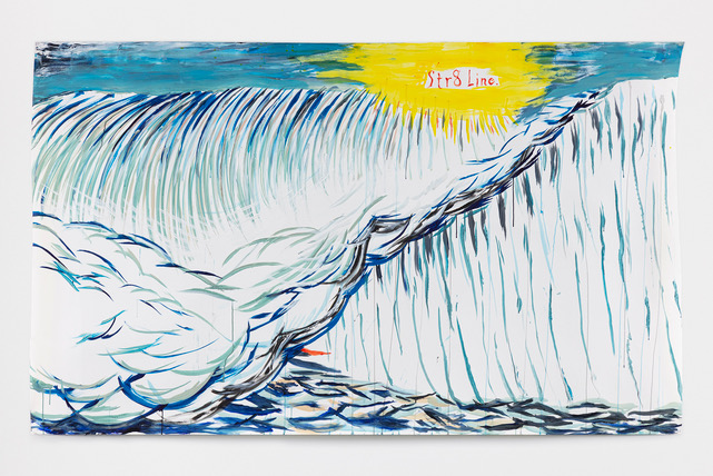 No Title (Str8Line) 2020 Acrylic and ink on paper 59 x 99 inches (149.9 x 251.5 cm) © Raymond Pettibon, Courtesy Regen Projects, Los Angeles