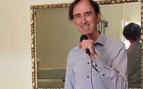 Steve Gottfried performing karaoke at home during the pandemic.