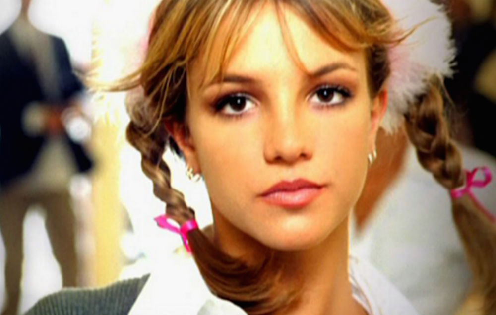 Iconic image of Britney Spears, her hair in pigtails, from her video to Baby One More Time