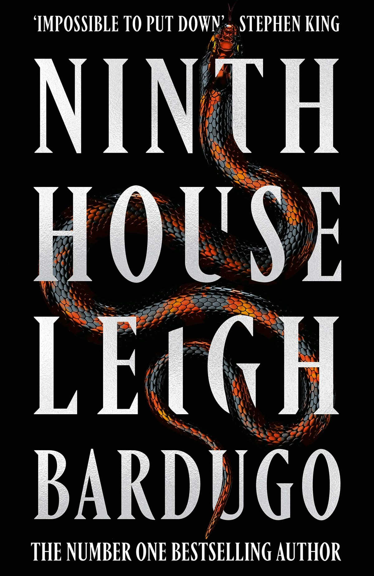 cover of Ninth House by Leigh Bardugo. a colorful snake twists and climbs over and around and through the letters of the title and the author's name.