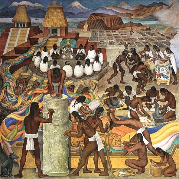 Aztecs in Diego Rivera mural