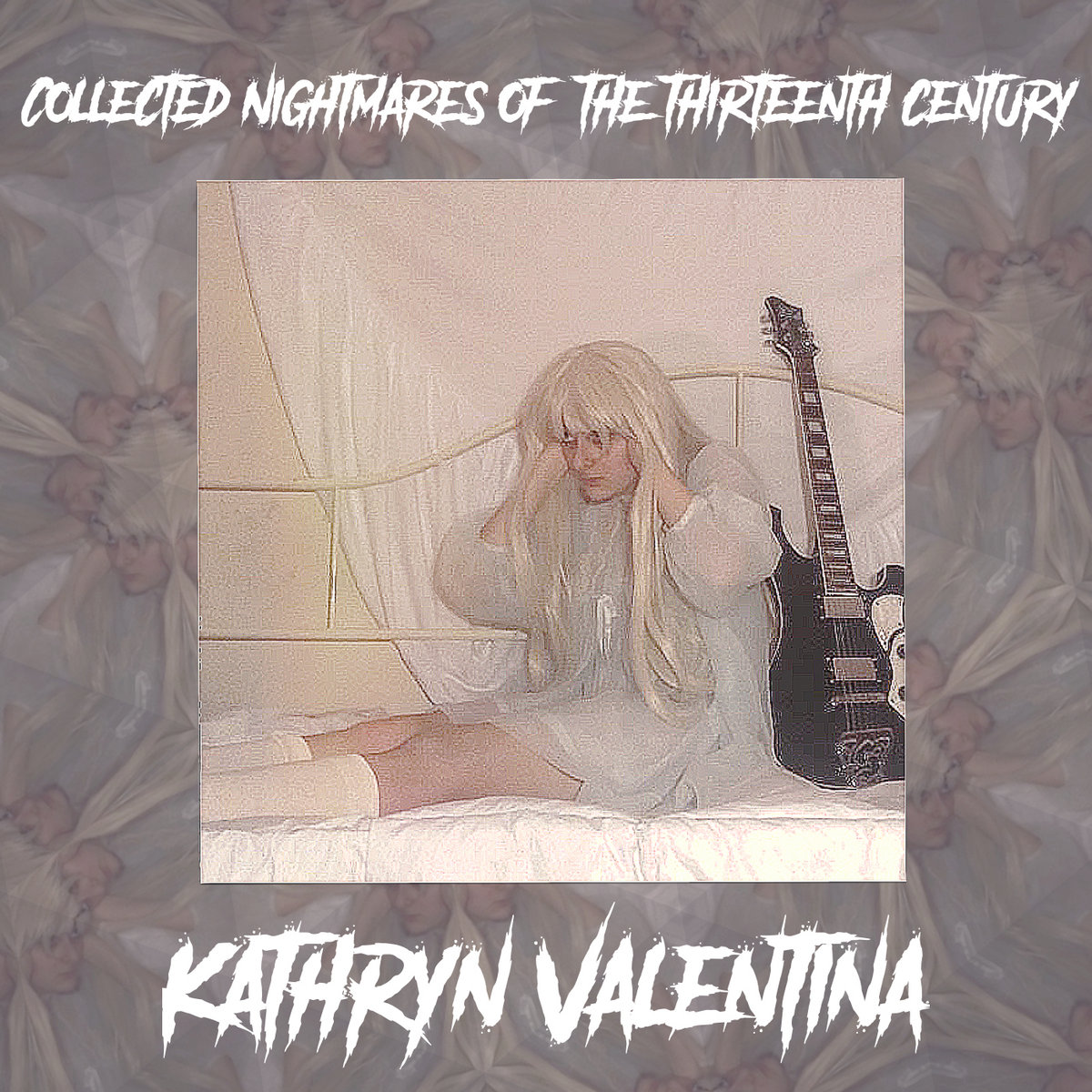 Album cover for Kathryn Valentina, A white femme in a short white dress, a long blond wig, and a black electric guitar sitting on a bed.