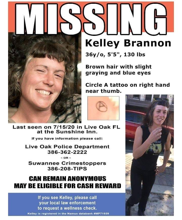 A missing person flyer for Kelley Brannon, with two photos of the person: one a portrait smiling and the other of her standing with her right hand up to show the tattoo on her hand.