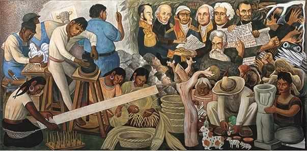 Detail of Pan American leaders in Diego Rivera mural