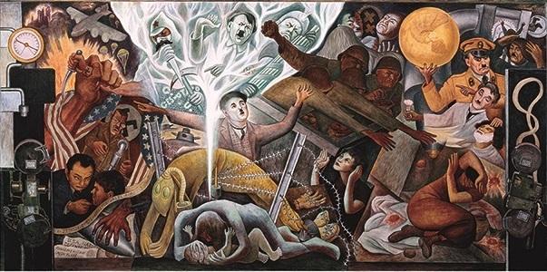 Detail of totalitarian leaders in Diego Rivera mural