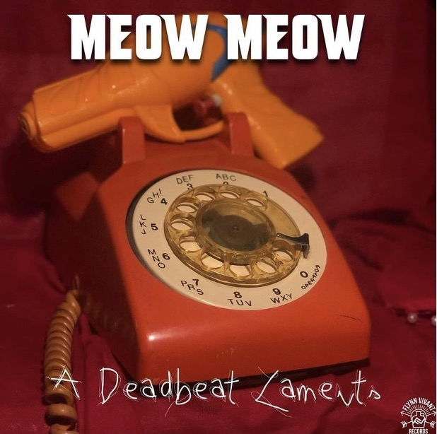 Album cover for A Deadbeat Lament. It's a picture of an old red telephone with a rotary dial.