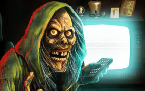 The iconic Creepshow skeleton holding a remote in front of a glowing TV screen.